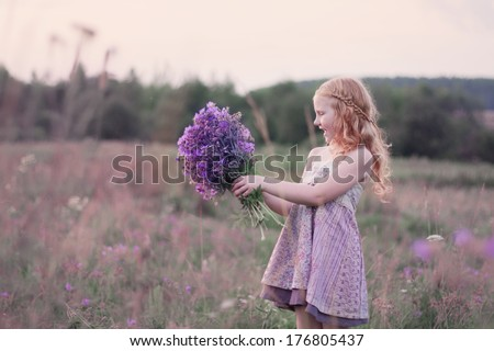 beautiful girl with flowers outdoor