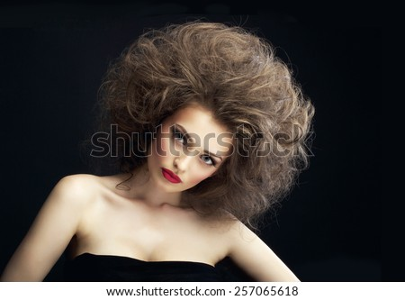 beautiful girl with fluffy hair
