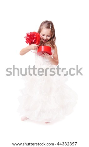 beautiful girl with gift isolated on white
