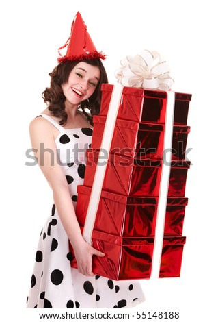 Beautiful girl with group of gift box. Isolated.