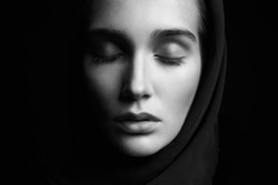beautiful girl with head covering. religious young woman.beauty girl's prayer