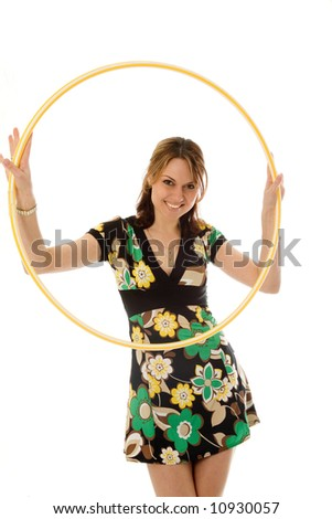 beautiful girl with hoop, isolated on white