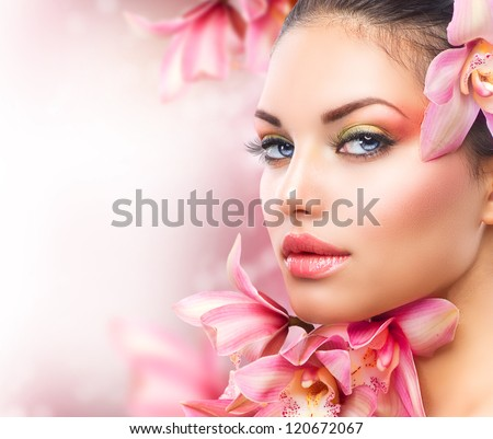 beautiful girl with orchid...