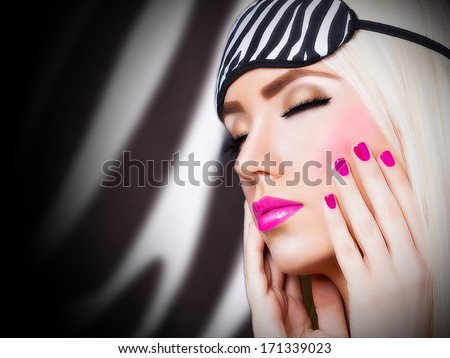 Beautiful girl with pink lips