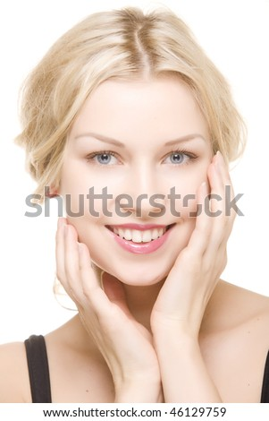 beautiful girl with pretty smile on white background