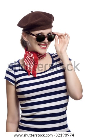 Beautiful girl with red bandana beret and striped shirt for French striped shirt and beret
