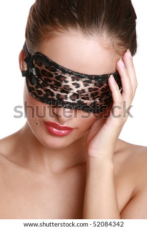 Beautiful girl with red lips and leopard print face mask
