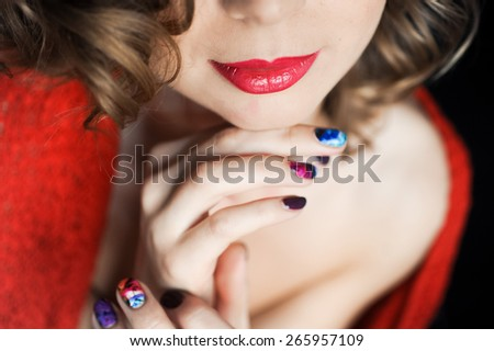 beautiful girl with red lips young