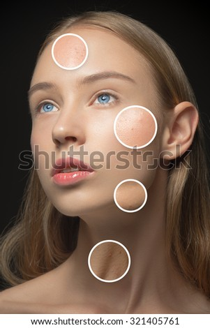 Beautiful girl with various types of skin close-up