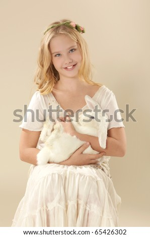 Beautiful Girl with white rabbit / Alice in wonderland