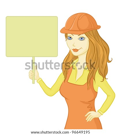 Beautiful girl worker in a helmet holding a sign for your text