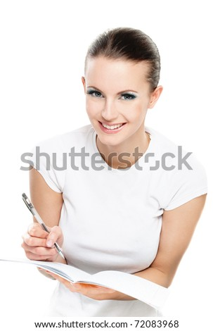 Beautiful girl writes pencil to writing-books, on white background.