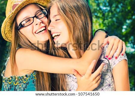 Beautiful Girls Having Fun in the Park