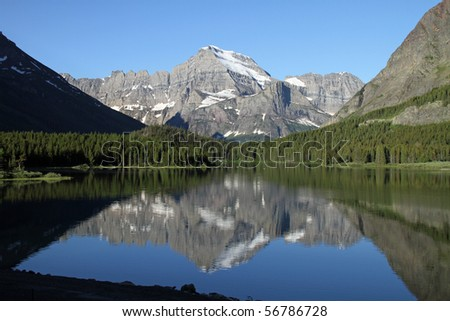 Beautiful Glacier National Park, at Swiftcurrent Lake in the Many Glaciers section of the park.