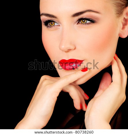 Beautiful glamour female portrait, fashionable stylish makeup decorated with stars