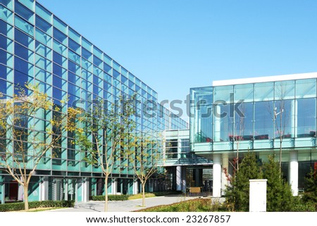 beautiful glass building of the exhibition in beijing