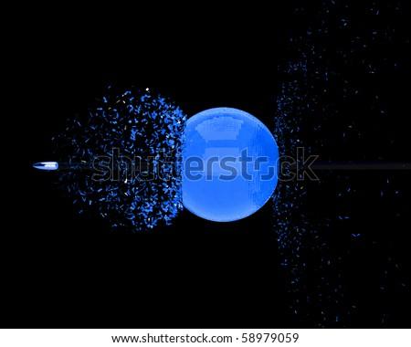 beautiful glass sphere pierced by bullet