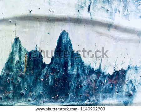 Beautiful glazes effect of handmade ceramic texture background. Abstract blur blue-white color ceramic pattern texture. Handmade glazed ceramic elements for background or wallpaper. - Soft Focus