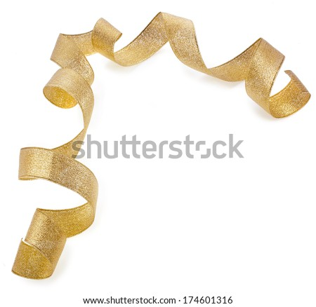 Beautiful glitter gold ribbon tape curl isolated on white background - stock photo