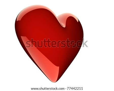 beautiful glossy red heart isolated on white