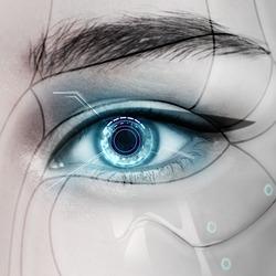 Beautiful glowing cyborg female eye.