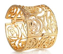 beautiful gold bracelet isolated on white