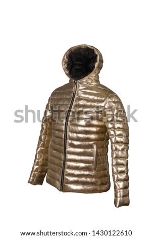 Beautiful gold color jacket side pose pic