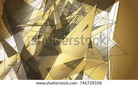 Beautiful gold illustration with triangles.