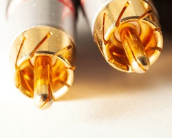 beautiful gold interconnect RCA wires close up