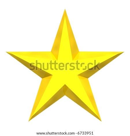 Beautiful gold star isolated on white - stock photo