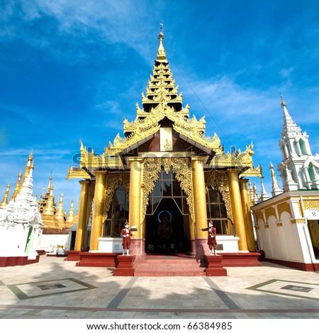 Beautiful gold temple pavilion encircling the main pagoda of Shwedagon, Yangon, Myanmar, 29th January 2010.