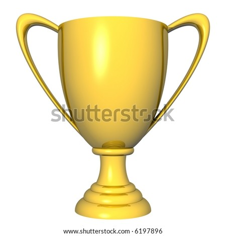 Beautiful gold trophy cup isolated on white