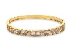 Beautiful golden Bracelet with diamonds, on white background