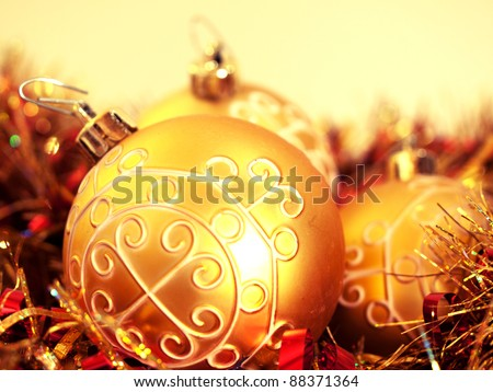 beautiful golden Christmas ornaments for tree decoration