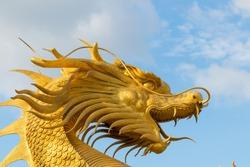 Beautiful golden dragon statue