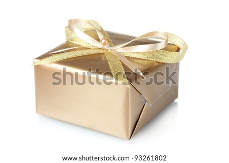Beautiful golden gift isolated on white