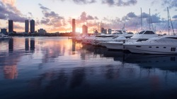 Beautiful Golden Hour Sunset In A Marina With Boats and Yachts Reflecting in the Water and Overlooking Southport, Main Beach, Gold Coast, Queensland, Australia