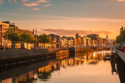 Beautiful golden hour view over Dublin city center in Dublin, Ireland