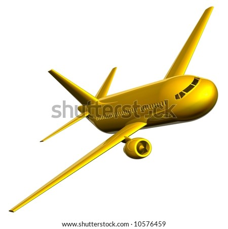 Beautiful golden jet airliner isolated on white