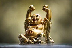 beautiful Golden Laughing budha statue