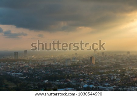 Beautiful golden light at sunset over the city. #1030544590