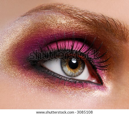 beautiful golden make up and pink eyeshadow