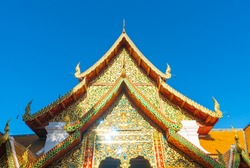 beautiful Golden mount at the temple at Wat Phra That Doi Suthep in Chiang Mai, Thailand.