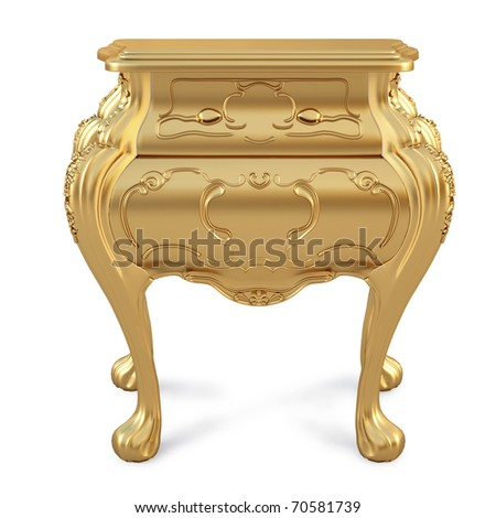beautiful golden nightstand. isolated on white.