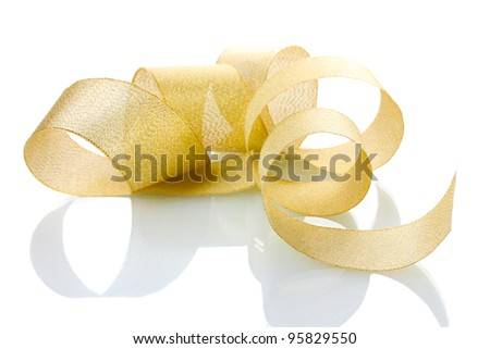 beautiful golden ribbon isolated on white