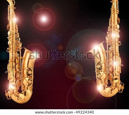 beautiful golden saxophones
