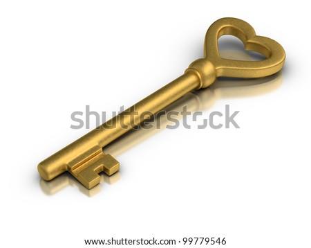 Beautiful golden skeleton key on white reflective surface.