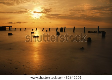 Beautiful golden sunrise on the Delaware Bay.
