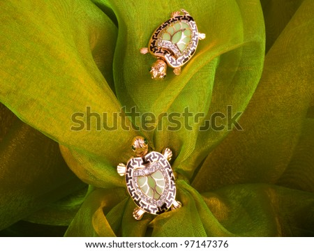 Beautiful golden tortoises on green background