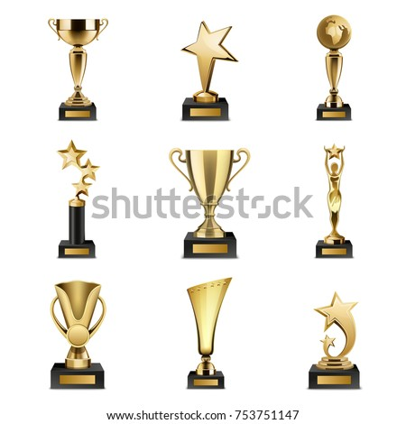 Beautiful golden trophy cups and awards of different shape realistic set isolated on white background  illustration